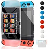 Dockable Protective Case for Nintendo Switch,Protective Accessories Cover Case New Design with 8 Game Card Slots for Nintendo Switch, Tempered Glass Screen Protector & Thumb Grips Caps