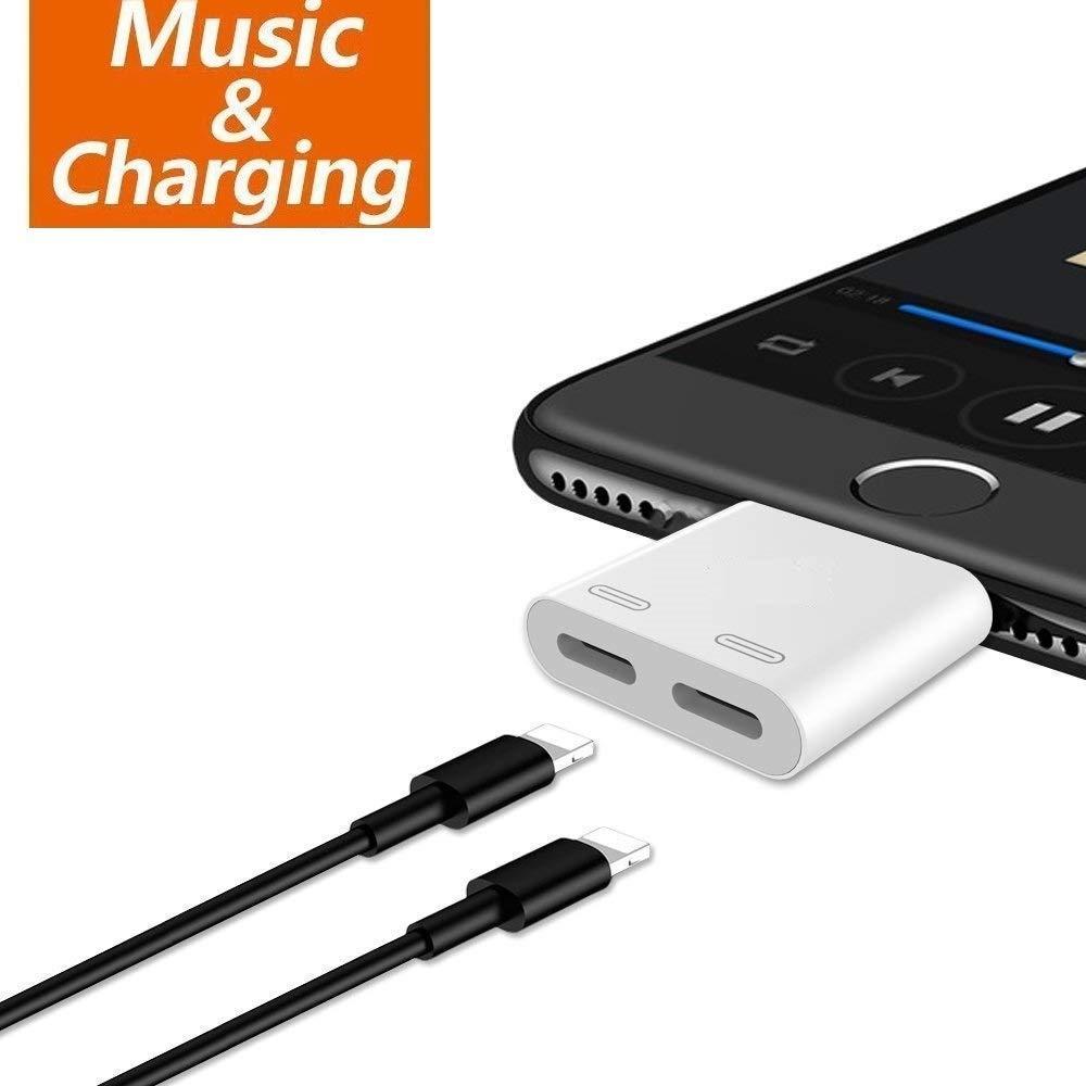 デュアルライティングポートジャックアダプタ ヘッドホン 充電 オーディオスプリッター 2イン1 イヤホン AUX音楽ケーブルチャージャー iPhone X / 8 / 8 Plus / 7 / 7 Plus/XR/XS/XS MAX対応 (ホワイト)   B07Q18JHCW