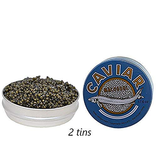 Premium Kaluga Sturgeon Amber Caviar Huso Dauricus River Beluga 2.2 lbs - 1 kg Cans w/Mother of Pearl Caviar Spoon Gourmet Premium Kaluga Caviar Light-Salted Farm Raised OVERNIGHT SHIPPING by Stradiva