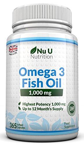 Omega 3 Fischöl 1000 mg von Nu U, 365 Kapseln (Versorgung für 12 Monate) - 100% GELD-ZURÜCK-GARANTIE - Maximale Stärke und Aufnahmefähigkeit - Hergestellt in Großbritannien