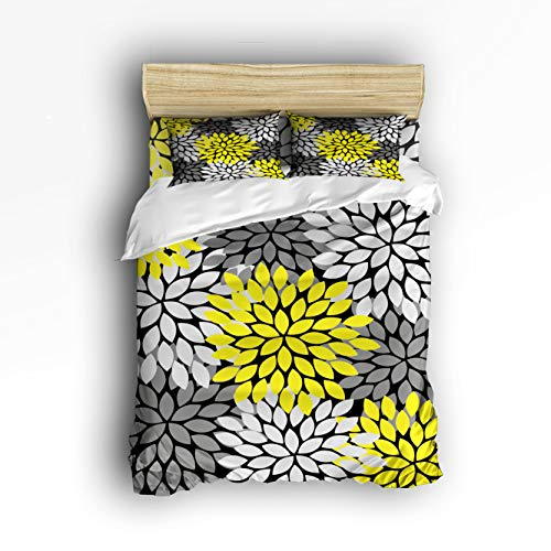 Cloud Dream Home 4 Piece Bedding Set,Dahlia Pinnata Flower Yellow Gray Black Duvet Cover Set Quilt Bedspread for Childrens/Kids/Teens/Adults Twin Size(Small) ()