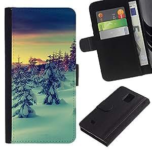 Paccase / Billetera de Cuero Caso del tirón Titular de la tarjeta Carcasa Funda para - Snow Winter Picea Trees Mountain Sky - Samsung Galaxy Note 4 SM-N910