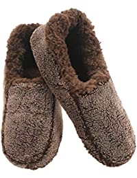 Mens Two Tone Fleece Lined Slippers | Comfortable Slippers for Men | Fuzzy Mens Slipper Socks | Soft Sole Mens House Slippers | Multiple Sizes and Colors