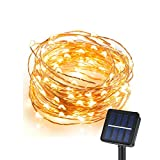CREATIVE DESIGN 100 LED Solar String Lights, 33Ft Copper Wire Lights, Waterproof Starry String Lights for Indoor and Outdoor Decoration, Christmas Party, Holiday(Warm White) (1 PACK)