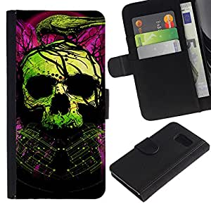 LASTONE PHONE CASE / Lujo Billetera de Cuero Caso del tirón Titular de la tarjeta Flip Carcasa Funda para Samsung Galaxy S6 SM-G920 / Skull Green Purple Death Raven Tattoo