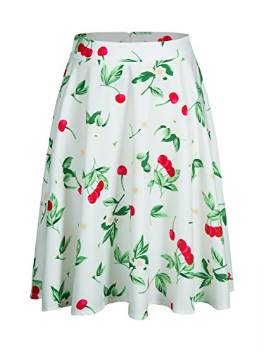 Pleated High Waisted a Line Midi Flare Skirts for Women (Small, White)
