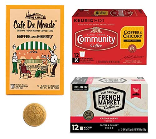 Cafe Du Monde Coffee, Community and French Market- New Orleans Coffee and Chicory K Cup Sampler Bundle Includes 12 count boxes of each brand (36 Single Serve Pods)