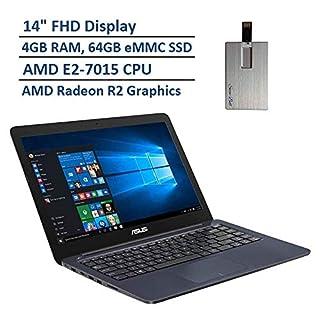"2020 ASUS Thin & Light 14"" FHD Laptop Computer, AMD E2-7015 Dual Core Processor, 4GB RAM, 64GB eMMC SSD, VGA Camera, HDMI, 1 Year Office 365, Windows 10 S, Blue, 32GB Snow Bell USB Card"