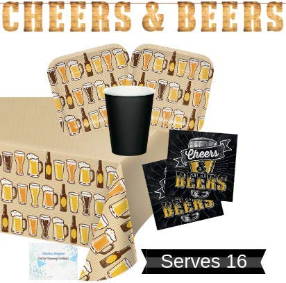 Craft Beer Party Supplies and Decorations - Beer Plates Cups Napkins for 16 People - Includes Banner and Tablecloth - Perfect Beer Party Decorations for Birthday, Beer Tasting or Bachelor Party!