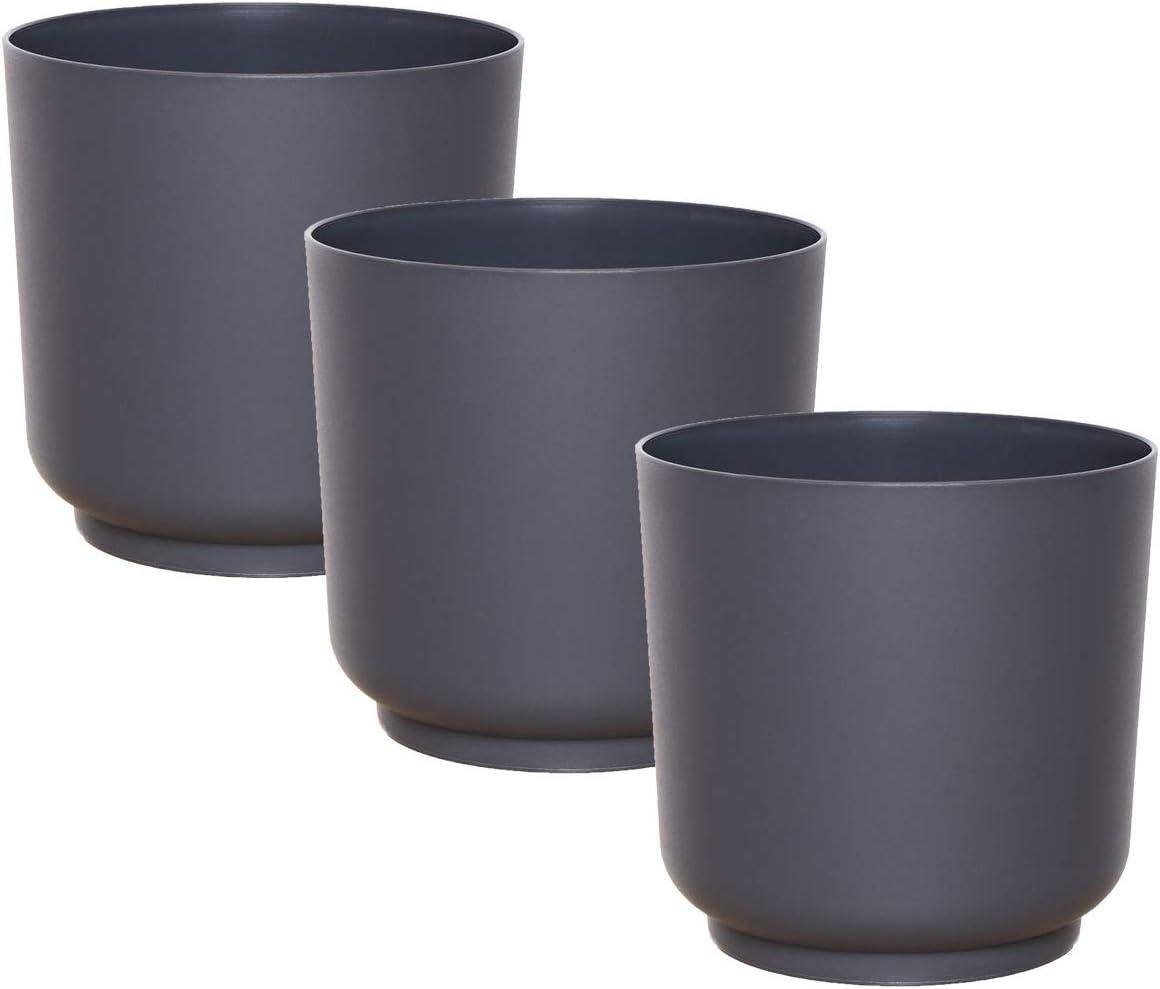Rond incassable idea-station Pot de Fleur Plastique 3 Pieces Interieur Pot Plante Jardiniere Anthracite Petit 13 cm Exterieur Petite Pots de Fleurs Vase