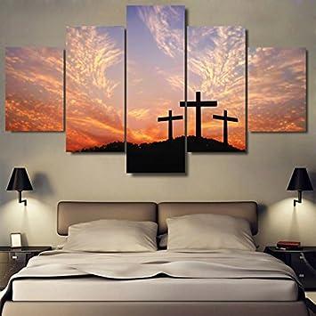 PAINTING Gerahmte Leinwand Gemälde Wohnzimmer Einrichtung Wandkunst 5 Stück  Christliche Kreuz Sonnenuntergang Bilder HD Druckt Landschaft