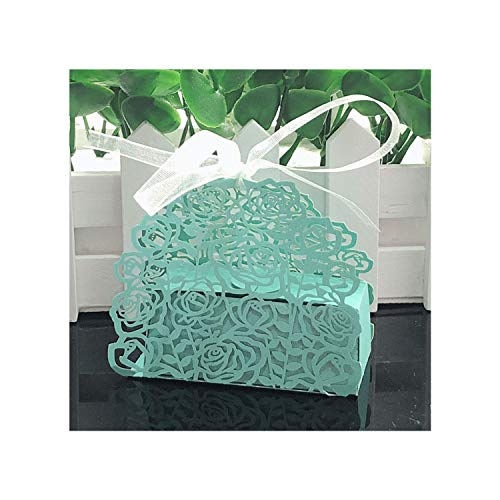 Pretty-GENTLE Christmas 10pcs Rose Flower Shaped Laser Cut Hollow Carriage Gift Bags Candy Boxes with Ribbon Baby Shower Wedding Favors Party Supplies,Tiffany Blue,7.5×4.5×6.5cm