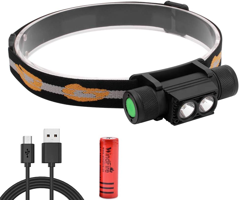 WINDFIRE Headlamp, USB Rechargeable LED Headlight Flashlight 1200 Lumens 2X XML-L2, Lightweight & Waterproof Removable Head Torch with Battery for Outdoor Camping Hiking