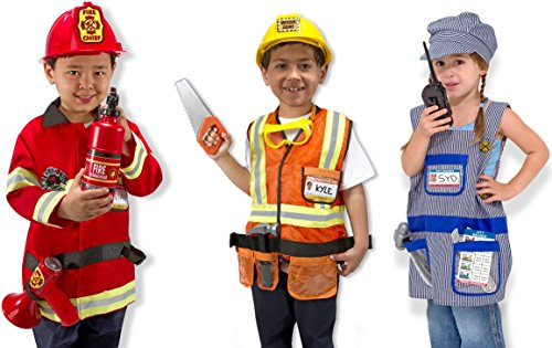 Melissa & Doug Role Play Bundle (Fire Chief, Construction Worker, Train Engineer) (Dress Up Clothes For Boys)