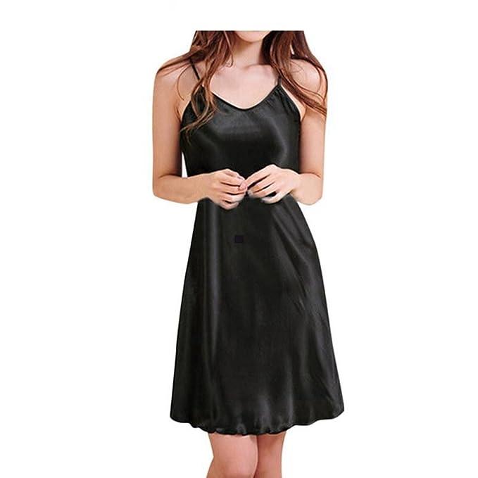 d6bcd37ba7 Amazon.com  Mywine Ladies Sexy Silk Satin Night Dress Sleeveless ...