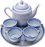 Chinese Blue and White Rice Pattern Tea Set for 4 - porcelain