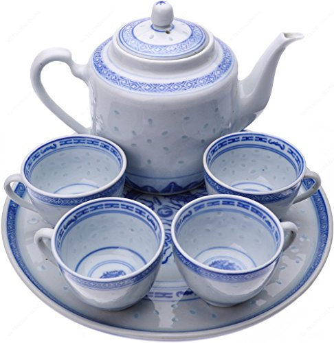 Chinese Blue and White Rice Pattern Tea Set for 4 - porcelain (Chinese Dragon Blue And White Rice Pattern)