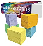 "DEBRADALE DESIGNS - Small Blank Colored Index Cards - 3-1/2"" x 2"" Inches - 5 Colors - 1,000 Cards - BONUS Storage Dispenser Box With Attached Lid & Velcro Closure - Product Made Entirely in the U.S.A."