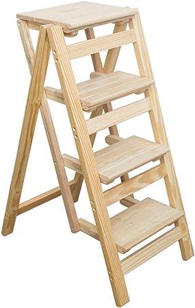 Taburete de Escalera de Madera Maciza de 4 Pasos, Escalera de Tijera Plegable de Color de