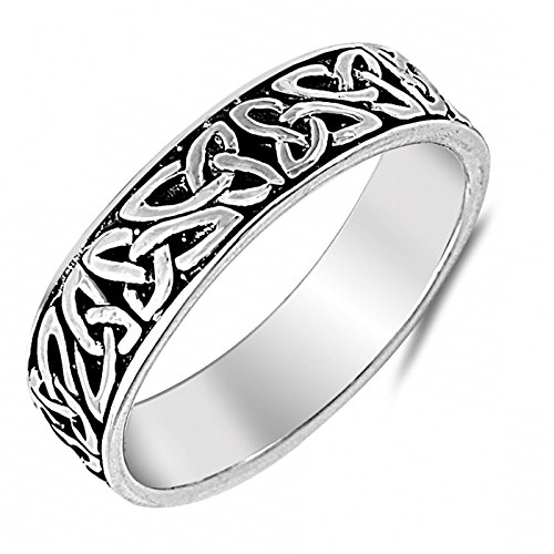 Antique 7mm Celtic Knot Inlay Sterling Silver Womens Mens Ring Size 10