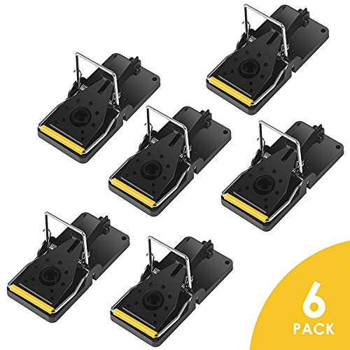 (ELenest Mouse Trap, 6 Pack Kill Mice Catcher, Easy to Set Reusable Mouse Control Snap Traps)