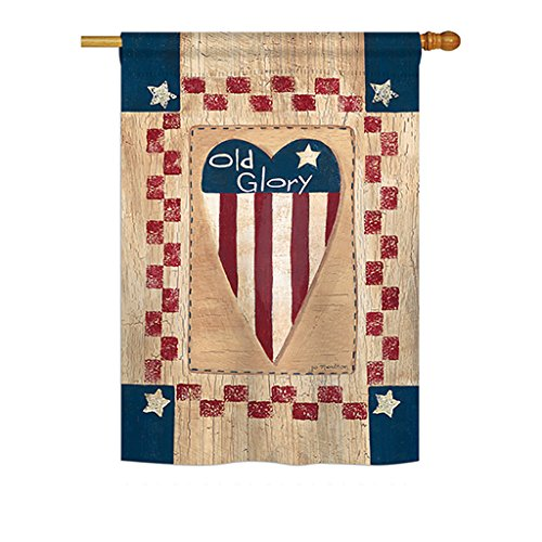 Breeze Decor H111082 Old Glory Heart Decorative Vertical Garden Flag, 28