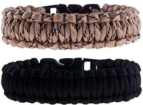 Paracord Survival Bracelets Set of 2 Easy To Open Clasp by The Friendly Swede
