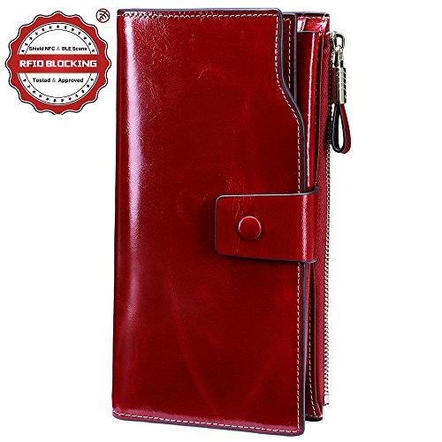 Women Leather Long Clutch Wallet(Red) - 1