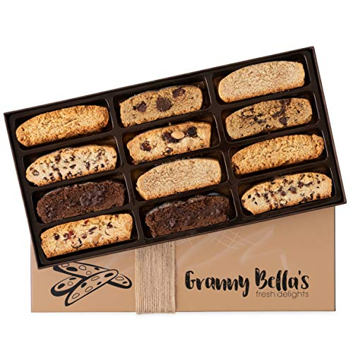 Fathers Day Granny Bella's Handmade Artisan Biscotti Gift Box, 12 Gourmet Italian Cookies Basket, Unique Corporate Food Gifts Christmas Holiday Cookie Baskets, Valentines Birthday Sympathy Get Well