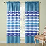 Cheap DS BATH Tampa Window Curtain,Rod Pocket Microfiber Curtains,Stripe Panels for Living Room,Blue Panels for Bedroom,2pcs Panel:Each 42″ W x 84″ H,Total Size:84″ W x 84″ H