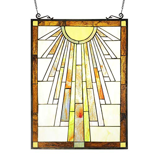 ELUZE Tiffany Style Mission Stained Glass Panels 24 inch Tall 18 inch Wide Decorative Window Hanging for The Wall or Windows Large Vertical Decoration (Small Panels Glass)
