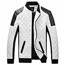 EASY Mens New Winter Faux Leather coat Thicken Jacket XL White