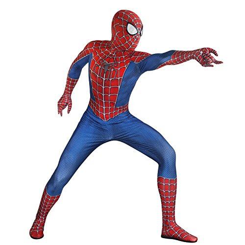 (Seven Plus Unisex Lycra Spandex Zentai Halloween Cosplay Costumes AdultKids 3D Style , MensLarge , RedBlue)