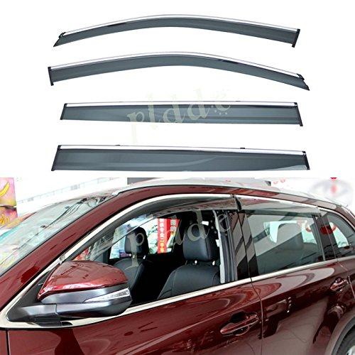 Price comparison product image PLDDE 4pcs Smoke Tint With Chrome Trim Outside Mount Tape On / Clip On Style PVC Sun Rain Guard Window Visors Fit 14-19 Toyota Highlander XU50