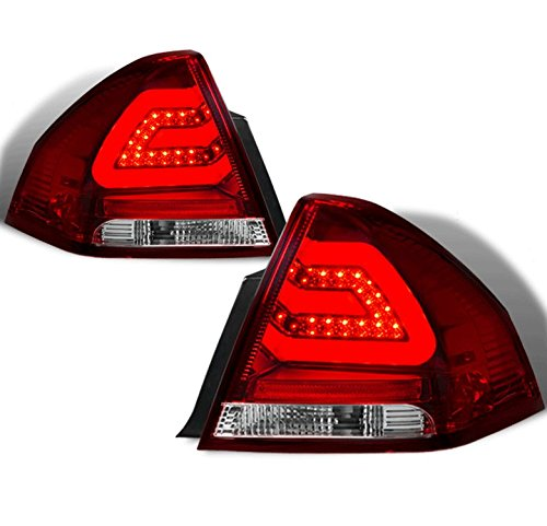 ZMAUTOPARTS Chevy Impala LED Bar Tube Signal Tail Brake Light Rear Lamp Red/Clear Lens