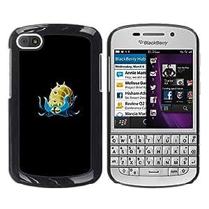 A-type Arte & diseño plástico duro Fundas Cover Cubre Hard Case Cover para BlackBerry Q10 (Meter mosnter Oro Caracol)
