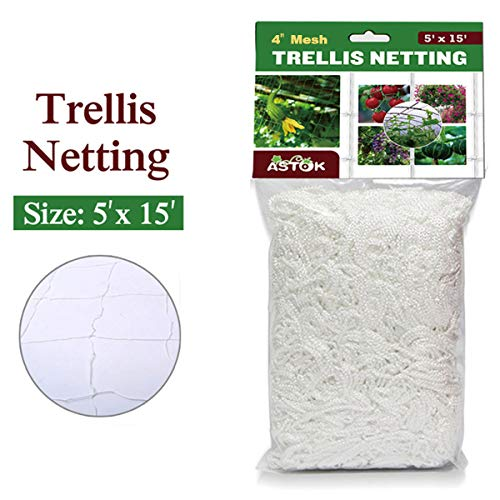 Vlesgo Trellis Netting,Heavy-duty Polyester Plant Trellis Netting Soft Crop Netting, Flexible String Garden Net Climbing, Fruits, Vegetables Flowers-White,1 Pack (5'x 15')