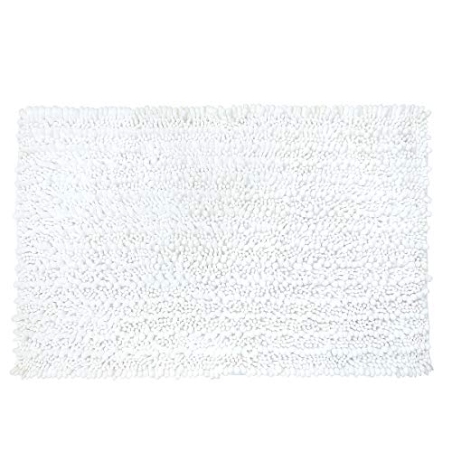 Yimobra Original Luxury Shaggy Bath Mat Large Size 31.5 X 19.8 Inch Super Absorbent Water,Non-Slip,Machine-Washable,Soft and Cozy,Thick Modern for Bathroom,Bedroom,Floor,Bright White