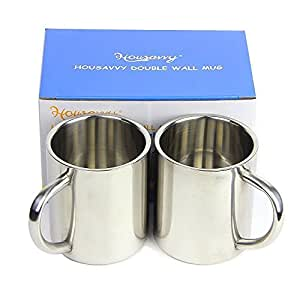 Housavvy 2 Piece Kid's Water Mugs, Stainless Steel Drinking Cups for Children, Double Wall Food Grade Durable Safe