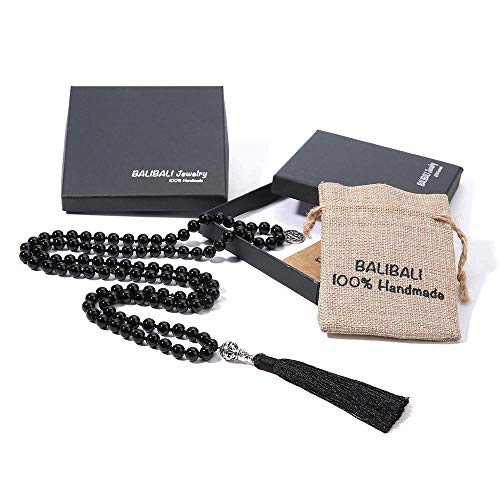 BALIBALI 108 Mala Beads Necklace Semi-Precious Gem Stones Meditation Necklace 108 Hand Knotted Japa Mala Beaded Tassel Necklace with Tree of Life Pendant