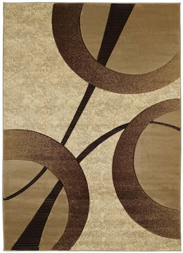 United Weavers Contours Collection Zaga 5-Feet 3-Inch by 7-Feet 6-Inch Heavyweight Heatset Olefin Rug, Beige