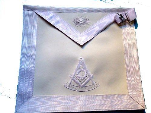 Delux White Past Master Apron Embroidered White Silky (Masonic Past Master Apron)