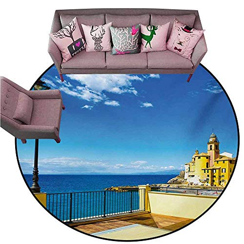 "Large Floor Mats for Living Room Colorful Italian,Camogli Building Sea Lamp and Balcony Tourist Spot in Ligury Italy Print,Blue White and Yellow Diameter 78"" Round Rugs for Outside"