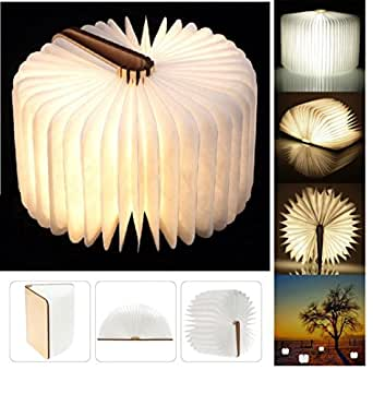 Yuanj USB Rechargeable Magnetic Wooden Folding LED Night Light LED Folding Book Lamp - 2500mAh Lithium Batteries Desk Lamp Table Lamp, Decorative Lights - Warm White