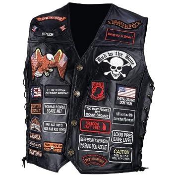 Biker Vest Patches >> Amazon Com Diamond Plate Mens Leather Patches Vest Black Xl Beauty