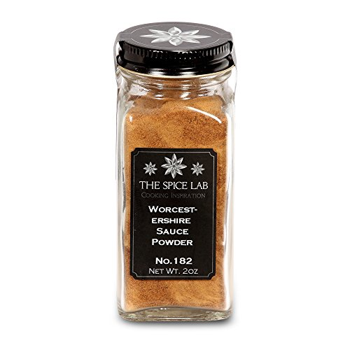 The Spice Lab 2.5 oz. Worcestershire Sauce Powder - (Chef's Secret Ingredient - Used on Meats for that Umami Flavor) Made from Real Worcestershire Sauce - Kosher Gluten-Free Non-GMO Spice - French Jar
