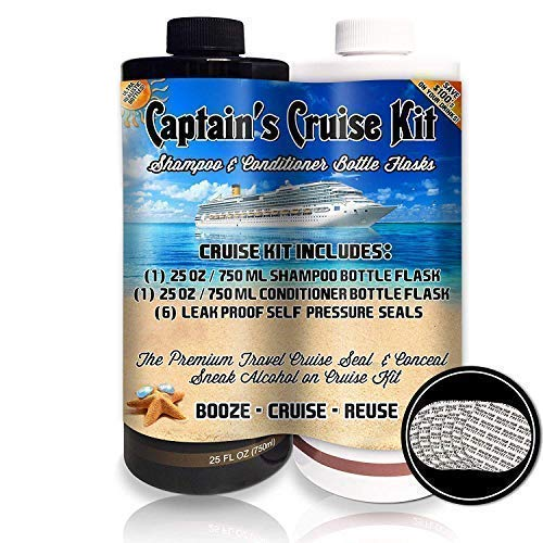 Captain's Cruise Kit With Shampoo & Conditioner Bottle Flasks (2x25oz) - Premium Sneak Alcohol On Cruise Set - Rum Runner Take Liquor Booze Anywhere Containers