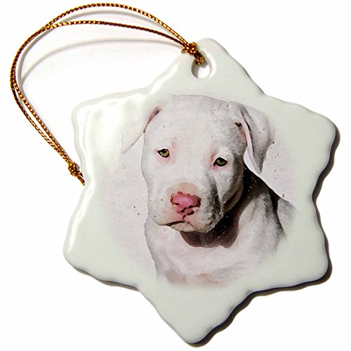 3D Rose American Staffordshire Terrier Pit Bull Puppy Watercolor Snowflake Ornament, 3