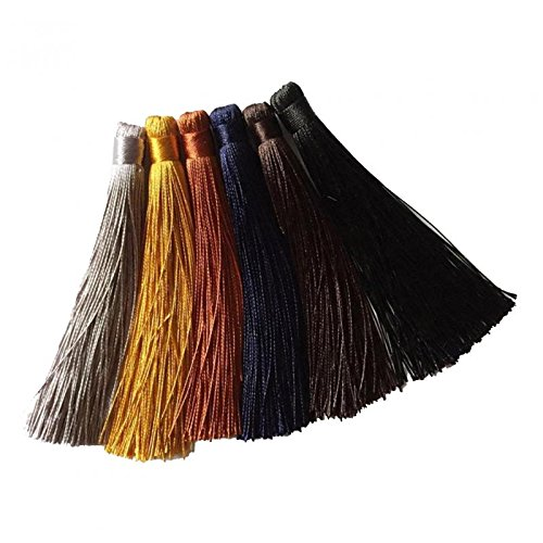 Jili Online 6 Pieces Mini Tassels Trim for DIY Craft Jewelry Making Keyring Decoration #4
