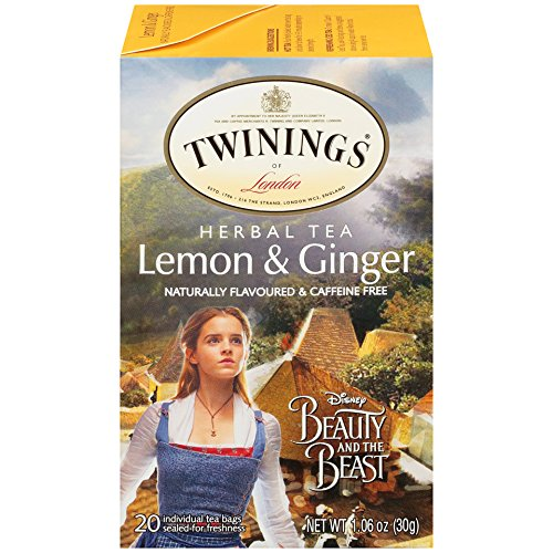 Twinings Lemon & Ginger Herbal Tea with Disney's Beauty and the Beast Graphics, 20 Count Tea Bags - Pack of 2